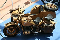 Desert camouflage BMW R75 motorcycle and sidecar