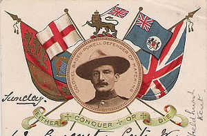 Robert Baden-Powell, 1st Baron Baden-Powell - Baden-Powell on a patriotic postcard in 1900
