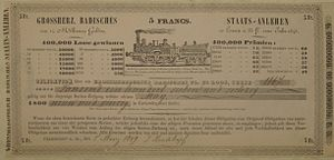 Grand Duchy of Baden State Railway - Baden premium bond from 1845/49 issued to finance railway construction.