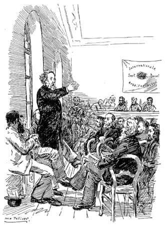 Collectivist anarchism - Bakunin speaking to members of the IWA at the Basel Congress in 1869
