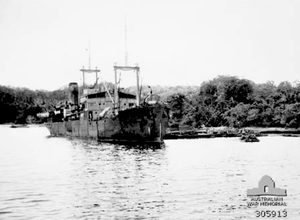 Oro Bay, New Guinea. 1943. The Dutch transport Bantam alongside the jetty during Operation Lilliput.