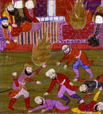 Invasion of Banu Qurayza - Tabari and Ibn Hisham mention 600-900 of the Banu Qurayza were beheaded. Detail from miniature painting The Prophet, Ali, and the Companions at the Massacre of the Prisoners of the Jewish Tribe of Beni Qurayzah, illustration of a 19th century text by Muhammad Rafi Bazil.