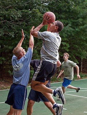 300px Barack Obama basketball at Martha%27s Vineyard President Obama Goes 2 for 22 Shooting Hoops, Like Record on Reducing High Black Unemployment Rate