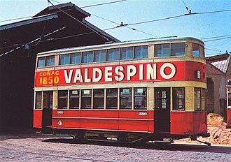 Francoist Catalonia - Tram in Barcelona in the 1950s.