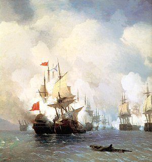 Orlov revolt - Image: Battle of Chios (1770), by Ivan Aivazovsky (1848)