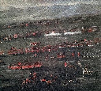 Royal Scots Greys - Painting of the Battle of Sheriffmuir by John Wootton. The view is from the British government side. To the right, there are figures mounted on grey or white horses where, according to the accounts of the battle, the Scots Greys lined up before charging and routing the Jacobite cavalry.