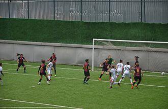 2016–17 Turkish Women's First Football League - 2016–17 season's play-off match between Beşiktaş J.K. (white) and 1207 Antalya Döşemealı Belediyespor (red/blue).