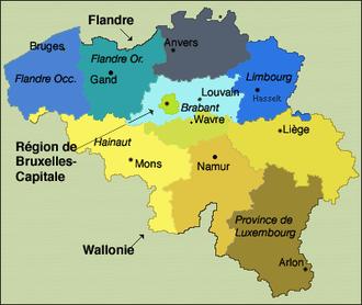 Carte Belgique Communautes Et Regions.Provinces De Belgique Wikipedia