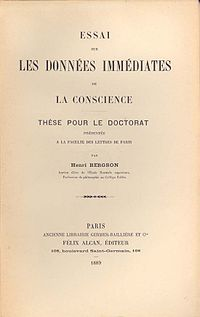 Henri Bergson  Wikipedia Essai Sur Les Donnes Immdiates De La Conscience Dissertation