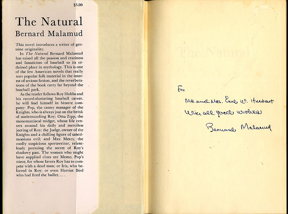 Bernard Malamud The Natural signed copy