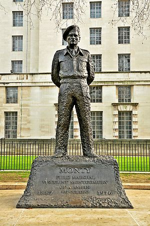 Statue of the Viscount Montgomery, London - The statue in 2012