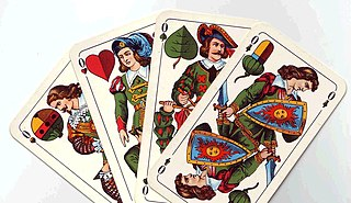 Ober (playing card) court card in German/Swiss playing cards, corresponding to the queen in French decks, so named because the suit sign appears at the top of the card