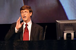 Bill Gates gives a presentation at IT-Forum in Copenhagen in 2004.