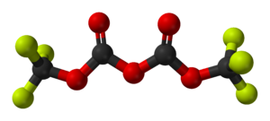 Dicarbonate - Image: Bis(trifluoromethyl) dicarbonate from xtal 2005 3D balls
