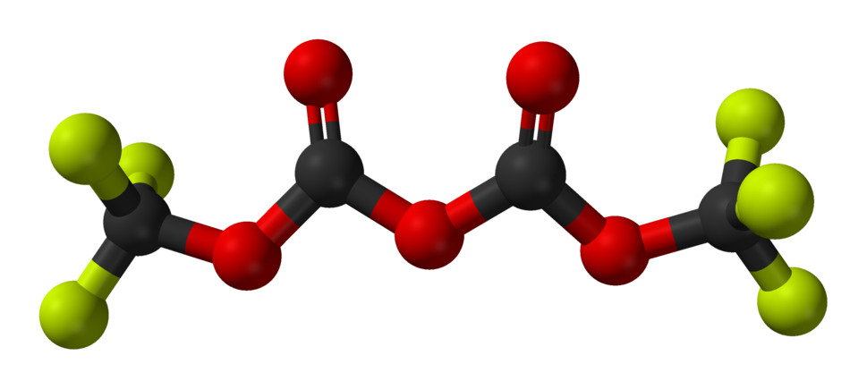 Bis(trifluoromethyl)-dicarbonate-from-xtal-2005-3D-balls