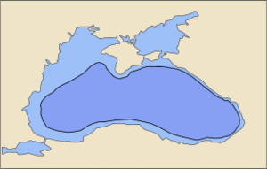 Black Sea today (light blue) and in 5600 BCE (dark blue) according to Ryan's and Pitman's theories