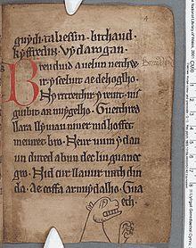 Riproduzione di una pagina del Libro nero di Carmarthen.