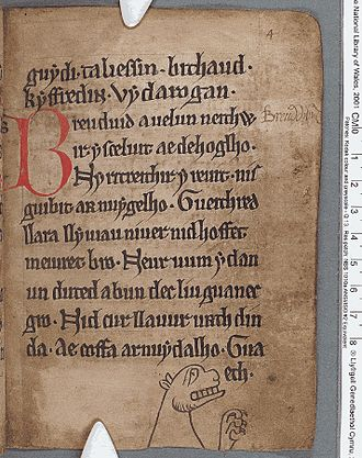 Black Book of Carmarthen - Image: Black Book of Carmarthen (f.4.r)