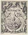 Blazoen van de rederijkerskamer De Pellicaen te Haarlem, met de kruisiging in allegorische omlijsting.jpg
