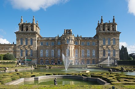 Blenheim Palace, Churchill's ancestral home and the place of his birth Blenheim Palace from the Water Terraces October 2016.jpg