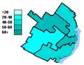 Bloc Québécois election results, Quebec City 2004.PNG