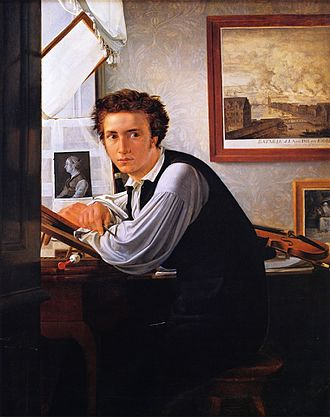 A Young Artist (Ditlev Blunck) Examining a Sketch in a Mirror - Ditlev Blunck, Portrait of the engraver Carl Edvard Sonne, ca. 1826 Statens Museum for Kunst