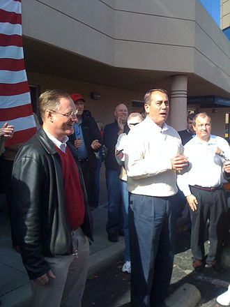 John Boehner, the then-House Minority Leader, campaigning for fellow Ohio Congressman Steve Stivers (left) during the 2010 midterm elections Boehnerandstivers.jpg