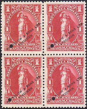 Waterlow and Sons - Image: Bolivia 1c Waterlow specimen revenue stamps