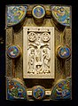 Book cover with crucifix and evangelists, ivory from North France, enamels from Maasland, 1150-1175, ivory, gilt silver, copper, enamel - Hessisches Landesmuseum Darmstadt - Darmstadt, Germany - DSC00262.jpg