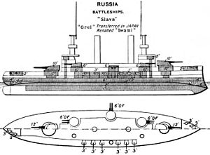 A black and white drawing of a large ship, from the top and from the side.