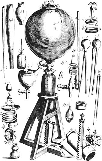 Air pump built by Robert Boyle. Many new instruments were devised in this period, which greatly aided in the expansion of scientific knowledge. Boyle air pump.jpg