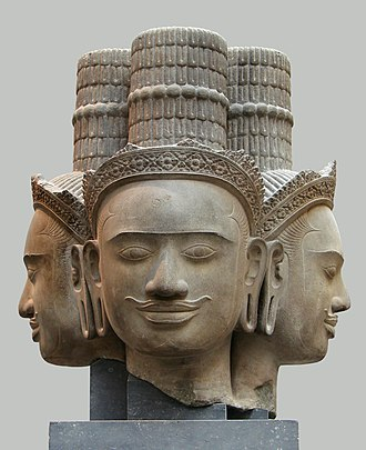 Phnom Bok - Head of Brahma in sandstone from the Phnom Bok in Bakheng style now in Guimet Museum in Paris.
