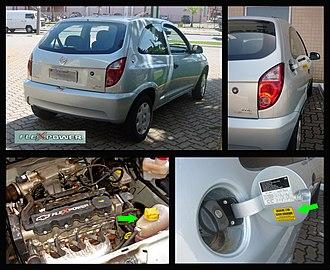 Chevrolet Celta - Details of the flex fuel version of the Chevrolet Celta