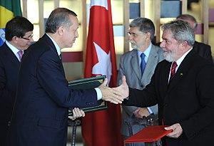 Foreign policy of the Recep Tayyip Erdoğan government - Recep Tayyip Erdogan and Brazilian President Luiz Inácio Lula da Silva