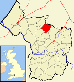 Map showing Horfield ward north of the centre of the city