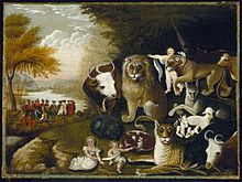 one of over 60 versions of the peaceable kingdom painted by edward hicks c 18331834 brooklyn museum