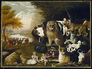 Edward Hicks - One of over 60 versions of The Peaceable Kingdom painted by Edward Hicks, ca. 1833-1834. Brooklyn Museum