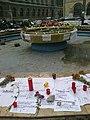 Bucuresti, Romania, Fantana din fata Facultatii de Arhitectura (imagini de revolta pentru cele intamplate la Clubul Colectiv (Clubul Mortii) (detaliu 3).jpg