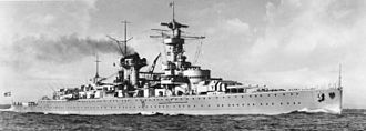 German cruiser Deutschland - Deutschland on non-intervention patrol in 1938