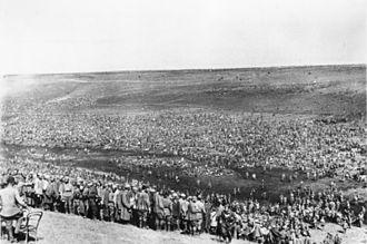 German mistreatment of Soviet prisoners of war - An improvised camp for Soviet prisoners of war. August 1942