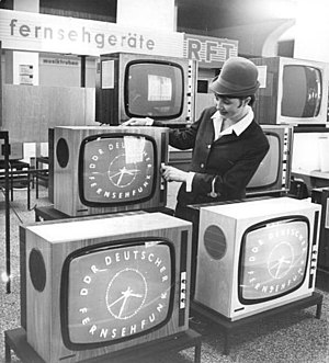 Deutscher Fernsehfunk - Televisions on display in Leipzig, tuned to DFF (1968).