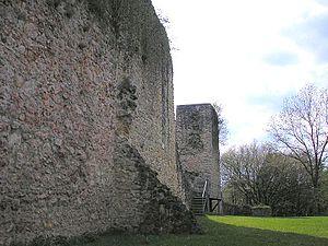 Güssenburg Castle - Inner side of the curtain wall ruins