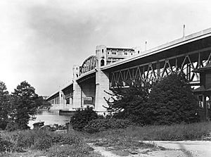 Burrard Bridge - Burrard Bridge circa 1932, with original street lamps.