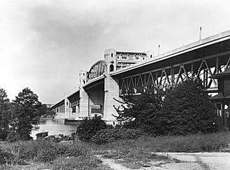 Burrard Bridge - Burrard Bridge circa 1932, with original street lamps.