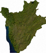 Satellite image of Burundi, generated from raster graphics data supplied by The Map Library