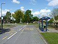 Bus stops and roundabout at the southern end of Meadow Farm Drive - geograph.org.uk - 1868503.jpg