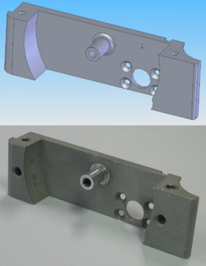 A CAD model (top) and corresponding CNC machin...
