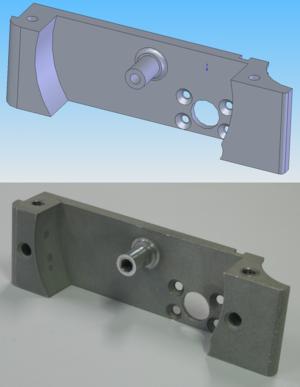 A CAD model (top) and corresponding CNC machin...