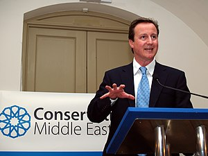 English: Rt Hon David Cameron MP speaking at t...