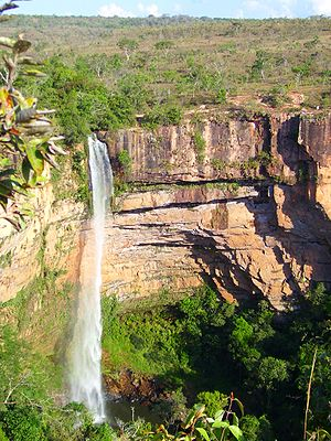 """Véu de Noiva"" Waterfall, in Chapada dos Guimarães National Park, Mato Grosso, Brazil."